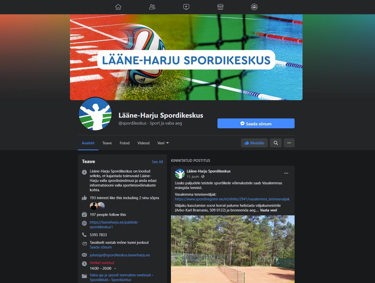 Lääne-Harju Spordikeskuse Facebook